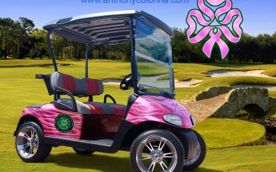 Breast Cancer Golf Cart Vehicle Wrap by Anthony Colonna